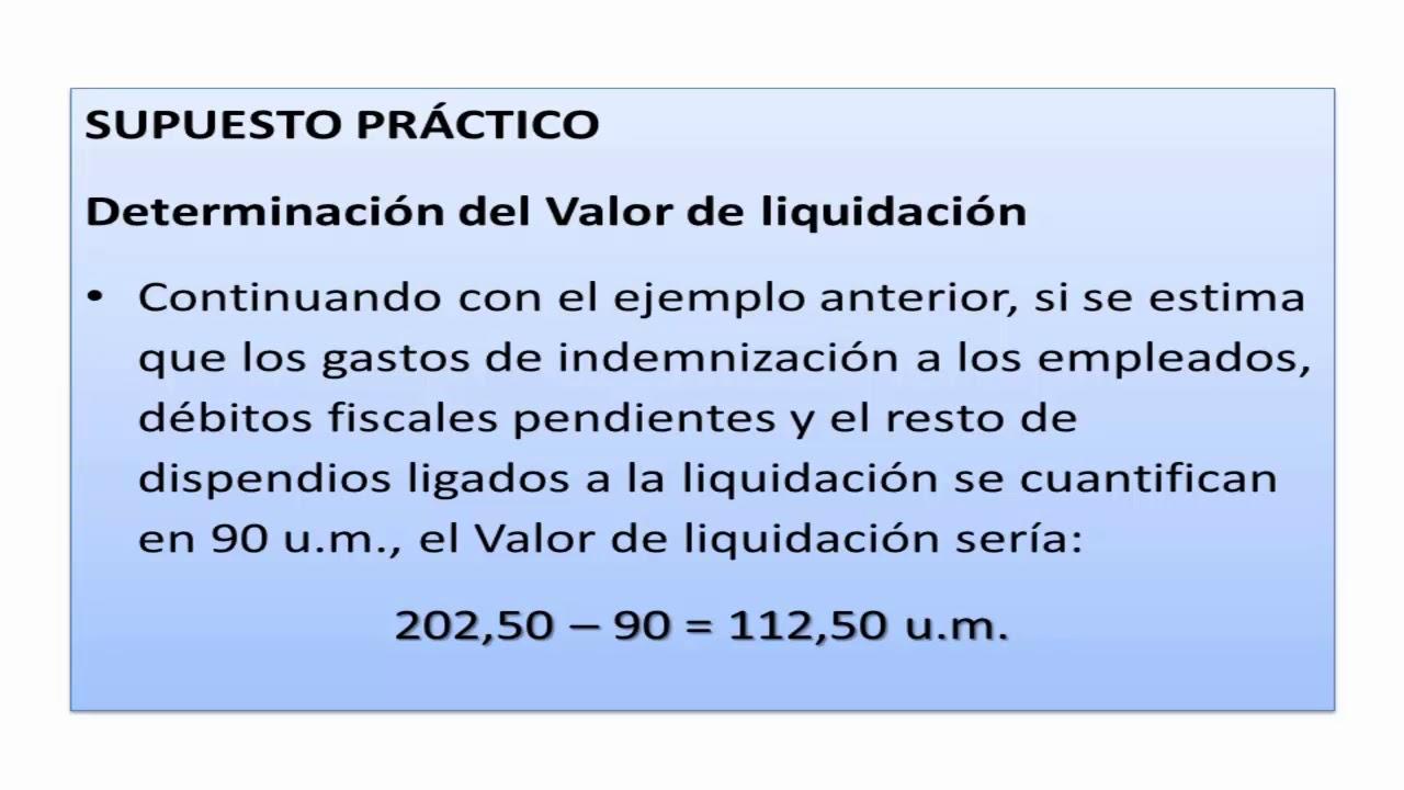 VALOR DE LIQUIDACIÓN